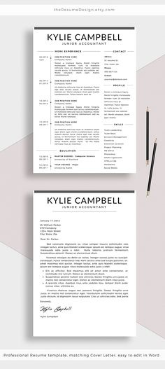 Professional Resume Template + Cover Letter For Word, Creative Cv
