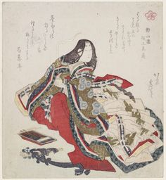 Hokusai, Female Poet, from the series Five Poetic Immortals (Gokasen)   The Five Poetic Immortals who served in the court of the empress Shôshi (later Jôtômon'in) are Akazome Emon, Izumi Shikibu, Murasaki Shikibu, Uma no Naishi, and Ise no Ôsuke. http://www.mfa.org/collections/object/female-poet-from-the-series-five-poetic-immortals-gokasen-212811