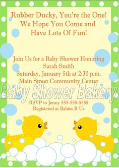 Printable Rubber Duck Baby Shower Invitation by BabyShowerBakery