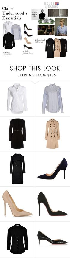 """""""Claire Underwood Essentials Part One"""" by oliviapope411 ❤ liked on Polyvore featuring NIC+ZOE, Ralph Lauren, Marella, Hobbs, Ted Baker, Manolo Blahnik, Jimmy Choo, Christian Louboutin, James Perse and Mel Curtis #jimmychooheelschristianlouboutin"""