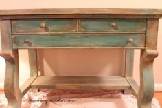 dreamingincolor: Antique Desk Makeover {Turquoise and Grey}