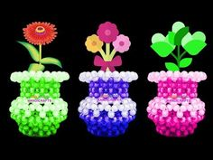 নতুনদের জন্য পুতির ফুলদানী/ How to make mini flower vase for beginners/ beaded flower vase Perler Bead Designs, Beaded Crafts, Beaded Ornaments, Minecraft Beads, Bead Bowl, Flower Art Drawing, Perler Bead Disney, Pink Hair Bows, Beaded Boxes