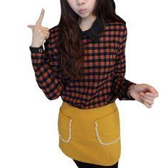Allegra K Ladies Zipper Back Pullover Bracelet Sleeves Shirt Orange Black XS Allegra K. $13.34