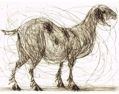 Goat, Wildlife Art, Fine Art, Original Print, Hand Pulled Dry Point Etching, Old Nanny Goat.