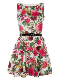 Womens Ladies Cream and Pink Floral Print Belted Skater Dress Sizes 8-16