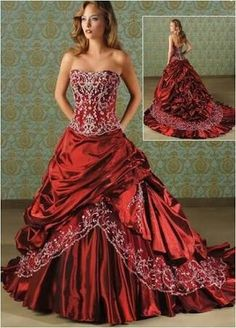 Shopping for luxury royal wedding dresses and beautiful bridal gowns online. Our Online shop supplies various stylish top quality cathedral and royal train wedding dresses for gorgeous brides. Shop now and find your perfect fit! Red Wedding Gowns, Bridal Gowns, Purple Wedding Dresses, Bonny Bridal, Bride Dresses, Wedding Attire, Vestidos Boutique, Hommes Sexy, Bustier
