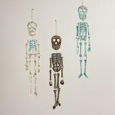 Wooden Hanging Skeleton Wall Decor, Set of 3   World Market - can make using paper mâché, cardboard or paper.