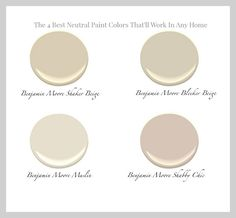 Benjamin Moore Neutrals - Shaker Beige, Blecker Beige, Muslin and Shabby Chic. (I used Shabby Chic in my guest bathroom with Simply White for trim. Shabby Chic Paint Colours, Best Neutral Paint Colors, Bedroom Paint Colors, Interior Paint Colors, Paint Colors For Home, Wall Colors, House Colors, Interior Design, Bedroom Neutral