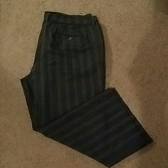 Grey and white pinstripe dresspants... Grey and white pin stripe pa ts with a belt attached...these are more for a shorter person I am 5'4 and these are more for a person who is 5'0... Pants Straight Leg