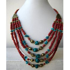 Turquoise and Coral Bohemian Necklace/Statement Necklace/Bib Necklace/Beaded Jewelry/Fashion Necklace