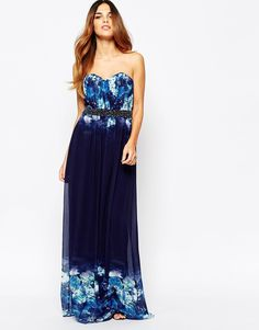 Little+Mistress+Maxi+Dress+In+Ombre+Floral+With+Embellished+Waist