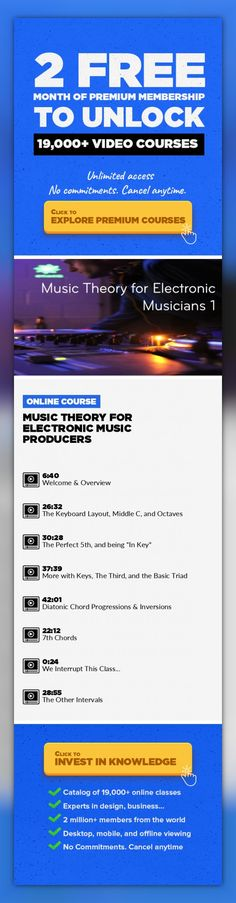 Music Theory for Electronic Music Producers Music Production, Music Theory, Creative, Ableton Live, Beats, Pro Tools #onlinecourses #onlinelearningclassroom #onlinecoursesoutline   A class designed for the electronic musician that wants to take their tracks to the next level. In this class we will focus on learning how to organize pitches and rhythms to make dynamic and interesting melodies and ha...