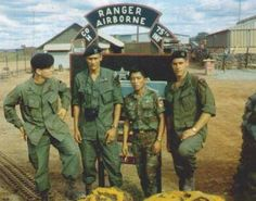 H Company Rangers pose by their sign. Note the OG107 jungle fatigue uniforms, black wool berets, and also the ARVN Ranger dressed in a South Vietnamese paratrooper uniform. 1st Cavalry Division Rangers were designated as E Company 52nd Infantry from 1967-1968 and then H Company 75th Infantry from 1969-1972.