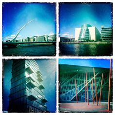 A photograph by photographer Niall O Cleirigh of Grand Canal Dock showing the bridge, the Conference Centre and the Theater and an apartment. Grand Canal, Marina Bay Sands, Conference, Opera House, Theater, Centre, Bridge, Play, Building