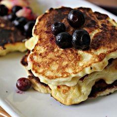 Meyer lemon ricotta pancakes topped with Meyer lemon curd and ...