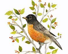 Aquarelle originale d'un oiseau sur une par MartineSaintEllier