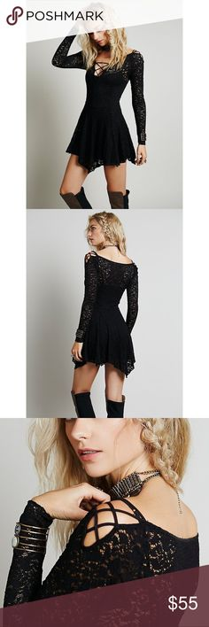 Free People Juliet Lattice Fit and Flare Slip Stretchy sheer lace fit and flare slip with crisscross strapping detail at the shoulders and neckline. // Please note that the slip underneath is not included.  96% Nylon 4% Spandex Machine Wash Cold Import Free People Dresses Mini