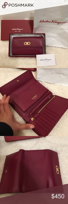 % Authentic Salvatore Ferragamo wallet clutch NWT! In original box and shopping bag. 100% authentic Ferragamo wallet/ clutch. Fit iPhone in the phone compartment. Retail $575+ tax Ferragamo Bags Clutches & Wristlets