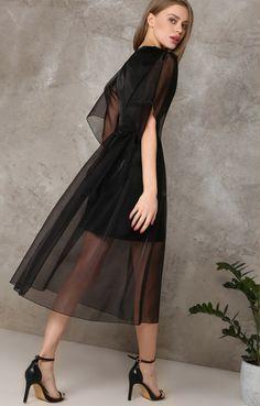 Коктейльное платье-миди из полупрозрачной органзы TOP20 Studio / 2000000250306-0