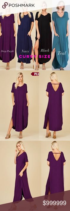 Maxi Dress Pockets Side Slits Open Back Casual CURVY SIZE V neck maxi dress with side slits, and pockets   ❌PRICE FIRM  *Black, Navy, & Deep Purple, Teal Available**  MOST Comfy dress EVER! You'll never want to take this dress off!  Do a front or side tie Loose fit Open back / V Neck Back / Plunging Back You can still wear a bra with out it showing even with the open back!  Side slits Pockets V neck  Ultra soft RAYON/SPANDEX  USA MADE  MAXI DRESS Chest, Waist, Hips, Length 1XL: 52, 52, 52…