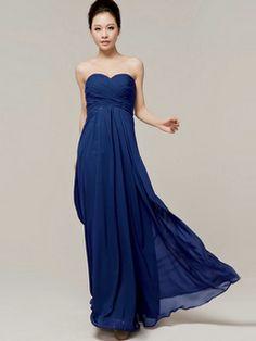 $106.05 Column Sweetheart Floor Length Strapless Draped Royal Blue #Cheap #Bridesmaid #Dresses