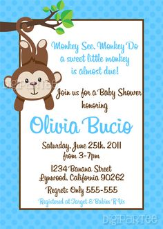 Monkey Baby Shower Invitation by dpdesigns2012 on Etsy, $10.00