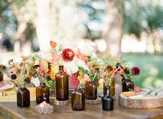 vintage medicine bottles with pretty flowers