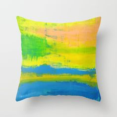 'A Sunny Day' Yellow Coral Blue Abstract Art Throw Pillow by art-by-lang Coral Blue, Yellow, Blue Abstract, Sunny Days, Throw Pillows, Cushions, Decorative Pillows, Decor Pillows, Scatter Cushions