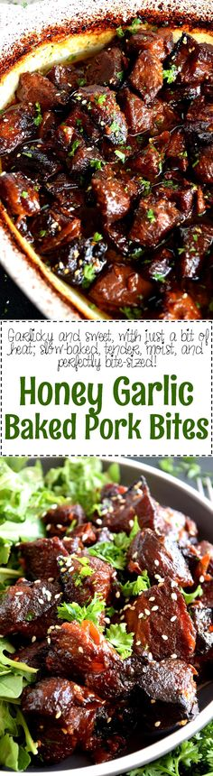 Honey Garlic Baked Pork Bites - Tender, with charred bits, these Honey Garlic Baked Pork Bites are delicious and easy to prepare. Perfect for a family dinner anytime!