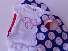 Custom Baseball Onesie,  Burp Cloth and Bib Set, Baby Shower, Newborn,  infant, baby boy bib, burp cloth & onesie set, Sports Set. $20.00, via Etsy.