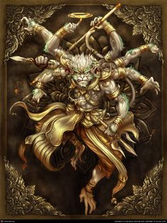 Monkey Art, Monkey King, Fantasy Character Design, Character Art, Samurai Artwork, Monkey Tattoos, Hanuman Wallpaper, Thailand Art, Japon Illustration