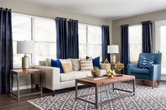 Navy, Neutrals, & Gold Accents Living Room