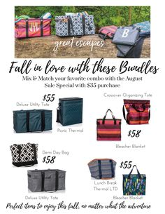Fall in love with bundles! From picnics to a day at the market - these bundles are sure to make your day much more stylish and enjoyable! #thermals #deluxeutilitytote #bleacherblanket #bundles #demiday