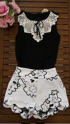 Dress Us Blusa crepe com guipire com detalhe laço Ref:C0973 - BLUSAS