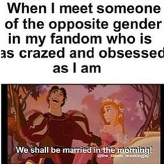 "XD Well at first it's ""We must now be friends!""...if anything more comes about. XD Hoping for someone who is just into your favorite fandoms as you."