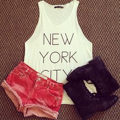 "The ""NYC"" tank is so cute & the pink shorts add some color!! (: Also, love the boots. x"