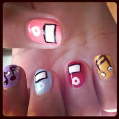 Ipod/Music Note rhinestone nails (colorful) Ariana Guido as a manicure model for #YouGotNailz