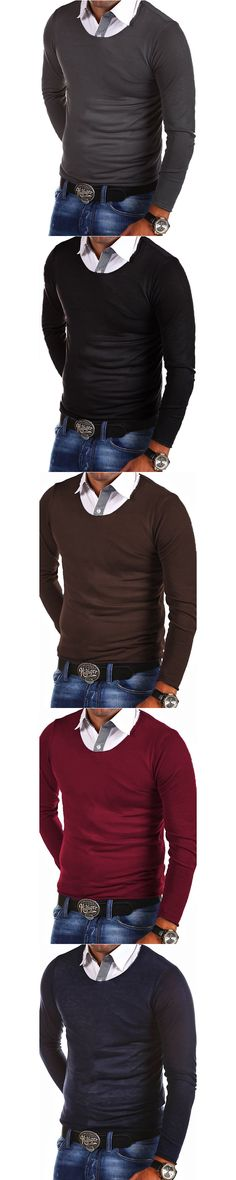 Fashion o-neck business style sweater men casual comfortable slim solid color long-sleeved  sweater
