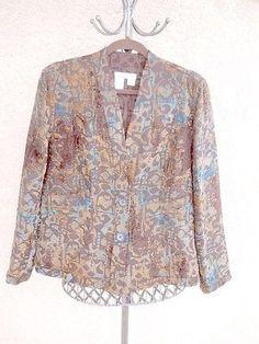 Coldwater Creek L Blazer 14 16 Tapestry Jacket Brown Blue Career New Long Slvs