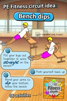 Bench dips - PE fitness station cards to print out and put in your sports hall - Great to develop your students arm strength in sport. Check out 36 PE Fitness Circuit station cards for elementary & middle school sport activities
