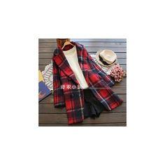 Plaid Woolen Coat (4.540 RUB) ❤ liked on Polyvore featuring outerwear, coats, women, red coat, tartan coat, red tartan coat, blue wool coat and woolen coat