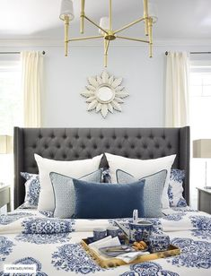 Tamara Anka at Citrine Living, Part 2 White Bedroom Furniture, Bedroom Decor, Bedroom Ideas, Blue And White Bedding, Coastal Bedrooms, Coastal Living, Bed Styling, Do It Yourself Home, Decorating On A Budget
