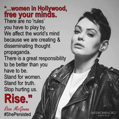 """#ShePersisted: #RoseMcGowan is leading the charge against Hollywood #misogyny. Just hours after it was announced that Harvey Weinstein had been fired from his own company, Rose McGowan spoke about the entire """"bro nature"""" of Hollywood.   """"Men in Hollywood need to change ASAP. Hollywood's power is dying because society has changed and grown, and yet Hollywood male behavior has not. It is so not a good look. In the way cooler than Hollywood world I live and work in, I am actually embarrassed to…"""