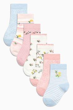 Pink Floral Socks Seven Pack (Younger Girls)