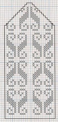 Filet Crochet Charts, Crochet Cross, Knitting Charts, Knitting Stitches, Knitting Patterns, Knitted Mittens Pattern, Knit Mittens, Knitting Socks, Hand Knitting