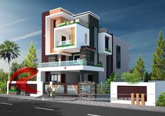 Rc Visualization is a growing Plan & Elevation Designing company. We are expert in architectural Planning, Elevation Designs, interior designs and realistic renderings. Modern Bungalow Exterior, Modern Exterior House Designs, Front Elevation Designs, House Elevation, Building Elevation, Bungalow House Design, House Front Design, Bungalow Designs, House Design Pictures