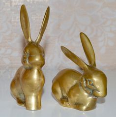 Brass Bunny Rabbits 2 Decorative Brass Bunnies by WVpickin on Etsy