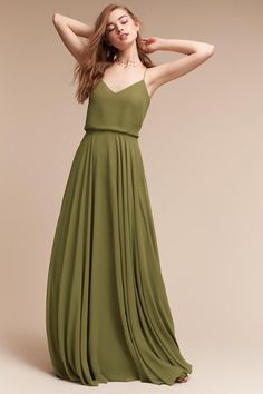 Shop unique and affordable bridesmaids dresses at BHLDN. Browse different bridesmaid dress colors and lengths with convertible styles in colors and ways to wear! Olive Green Formal Dress, Olive Dress, Olive Green Bridesmaid Dresses, Dusty Blue Bridesmaid Dresses, Bridesmaids, Vestido Color Oliva, Boho Dress, Bridal Gowns, Outfits