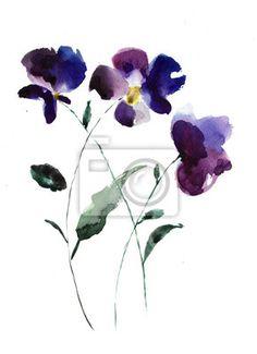 Resultado de imagem para violet flower aquarela
