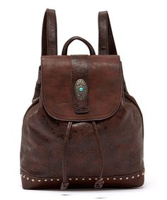 This Brown Jacquard Leather Backpack is perfect! #zulilyfinds